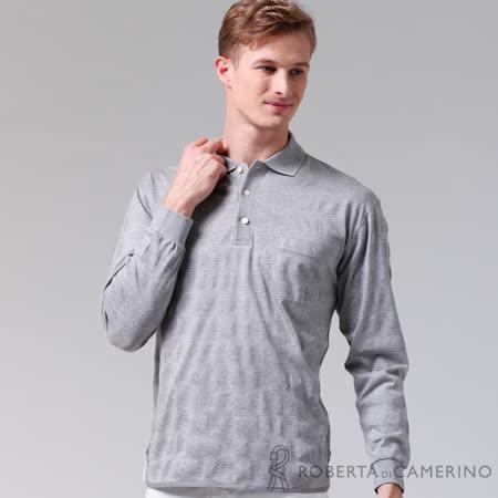 ROBERTA諾貝達 台灣製 經典呈現 純棉長袖POLO棉衫 淺灰