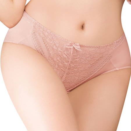 【思薇爾】舒棉BRA系列M-XXL蕾絲中腰三角內褲(粉陶膚)