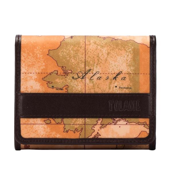 Alviero Martini 義大利地圖包 扣式6卡零錢短夾~地圖黃深咖啡