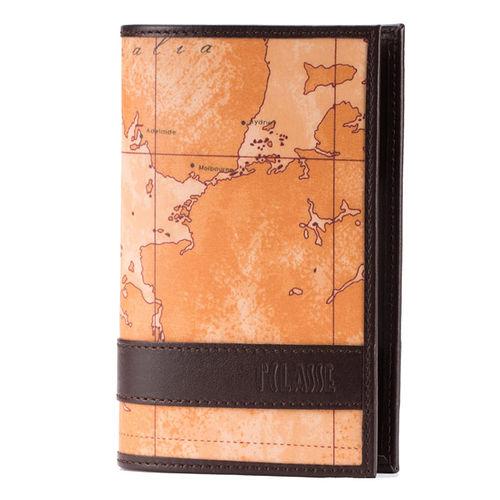 Alviero Martini 義大利地圖包 護照夾~地圖黃深咖啡