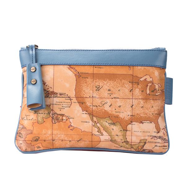Alviero Martini 義大利地圖包 拉鍊收納化妝包~地圖黃藍綠