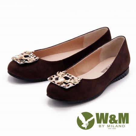W&M 復古金屬麋鹿造型絨面娃娃鞋-咖(另有黑)