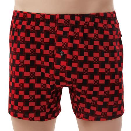 【SOLIS】競速F1系列M-XXL寬鬆印花四角男褲(袍紅色)