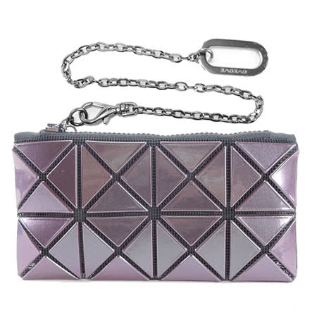ISSEY MIYAKE 三宅一生BAO BAO PRISM METALLIC 2x4金耀菱格零錢鑰匙鎖包(紫)