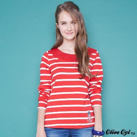 【Olive Oyl奧莉薇】肩釦接領條紋細針織上衣(紅)
