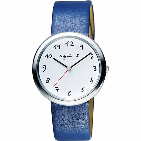 agnes b. 自由的主題時尚腕錶-白x藍/36mm VJ21-KK50Z(BH8029X1)