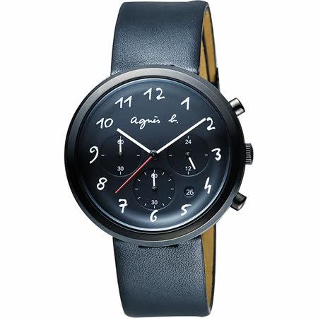 agnes b. 藝術世界三眼計時腕錶-黑/40mm VD53-KC30C(BT3028X1)