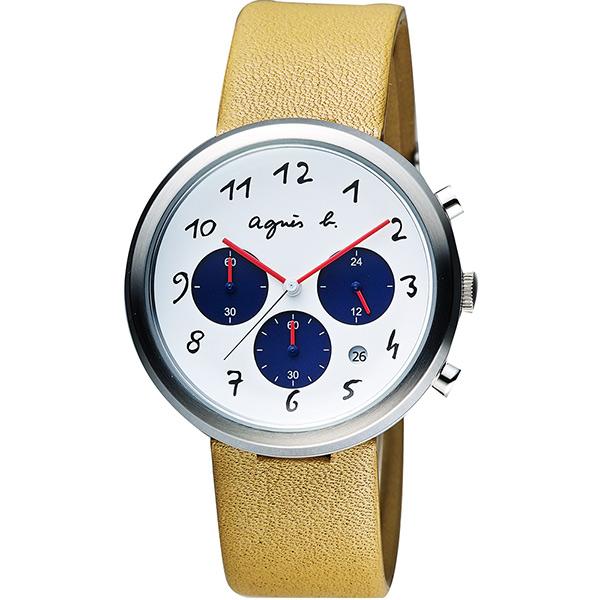 agnes b. 藝術世界三眼計時腕錶~白x咖啡40mm VD53~KC30J^(BT30