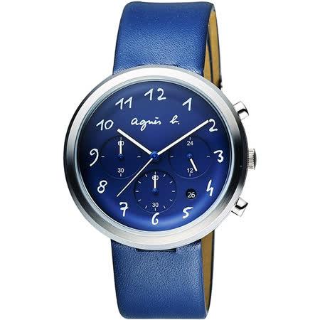 agnes b. 藝術世界三眼計時腕錶-藍/40mm VD53-KC30B(BT3025X1)