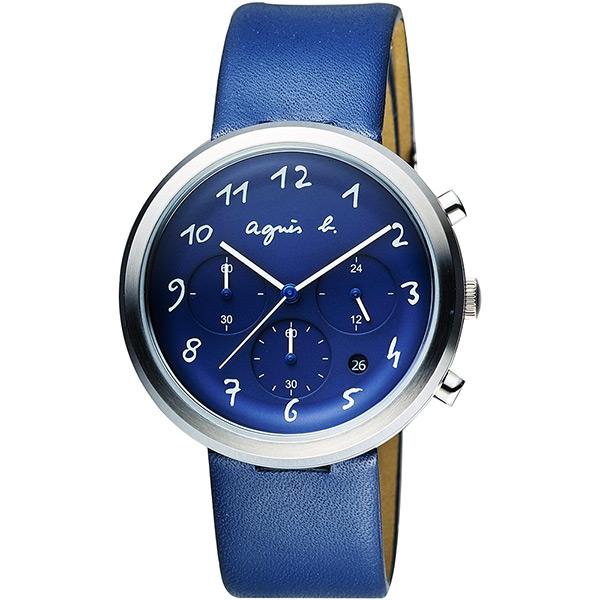 agnes b. 藝術世界三眼計時腕錶~藍40mm VD53~KC30B^(BT3025X