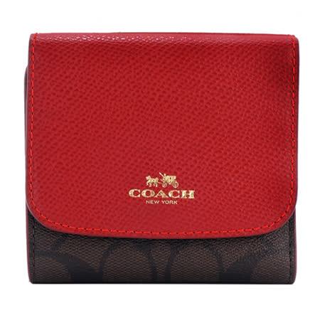 COACH 馬車防刮三折短夾/零錢袋(深棕紅)