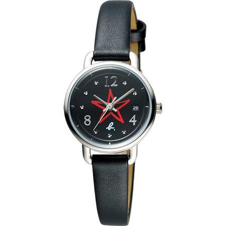 agnes b. ART 法式藝術手繪星星時尚套錶-黑/26mm VJ22-KR80D(BH7011X1)