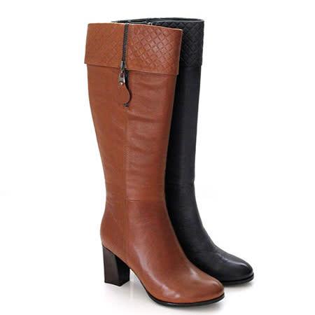 【GREEN PHOENIX】全真皮皮革壓花紋反摺質感粗高跟長靴