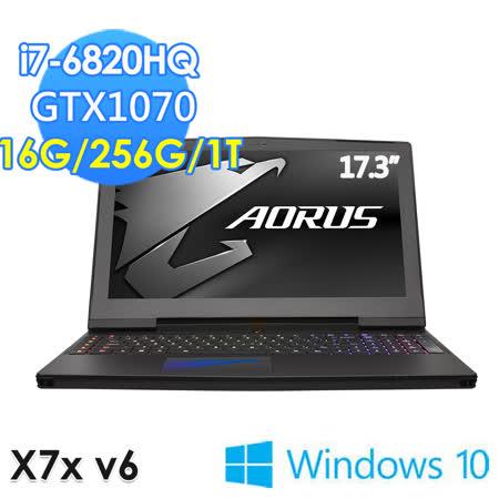 【GIGABYTE技嘉】X7xv6 17.3吋 i7-6820HQ GTX1070 WIN10(電競筆電)