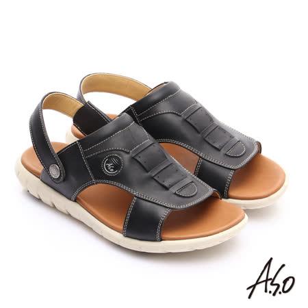 【A.S.O】輕量樂活系列 可調式後帶真皮涼拖鞋(黑)
