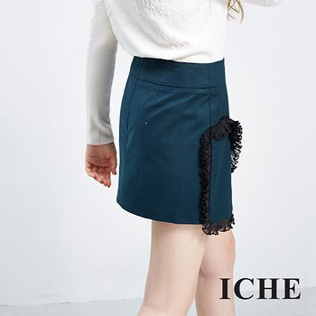 ICHE 衣哲 荷葉飾邊疊層短裙