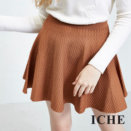 ICHE 衣哲 立體織紋純色波浪短裙 兩色