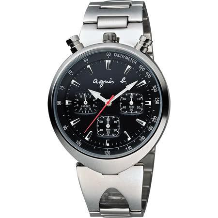 agnes b. 新世界探險三眼計時腕錶-黑x銀/39mm VD55-KS00D(BX9001X1)