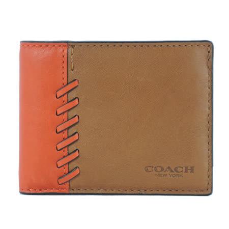 COACH 雙色棒球編織男用皮夾(橘咖)(附盒)