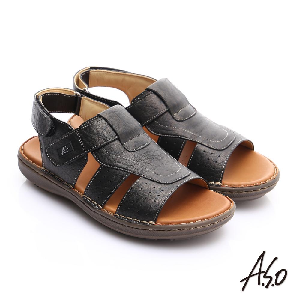 【A.S.O】輕量樂活 摔花牛皮輕量抗震涼鞋(黑)