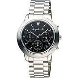 agnes b. 魔幻魅眼時尚計時腕錶-黑x銀/40mm VD53-KQ00D(BT3012X1)