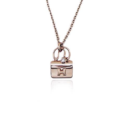 HERMES 愛馬仕Constance 造型0.04克拉玫瑰金短鍊