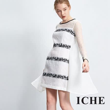 ICHE 衣哲 立體雕花蕾絲刺繡拼接洋裝