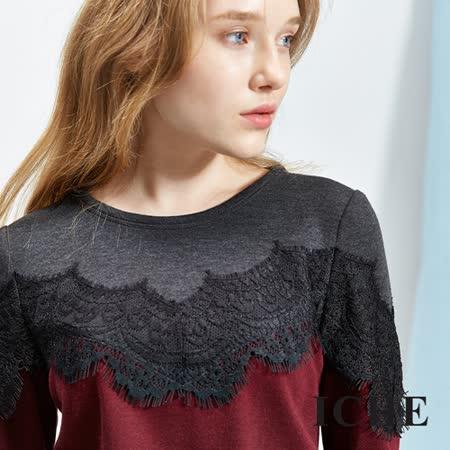 ICHE 衣哲 3D蕾絲羊毛撞色拼接上衣
