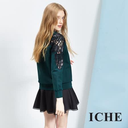 ICHE 衣哲 3D簍空蕾絲拼接上衣