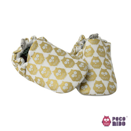 英國 POCONIDO 純手工柔軟嬰兒鞋 (金色貓頭鷹)