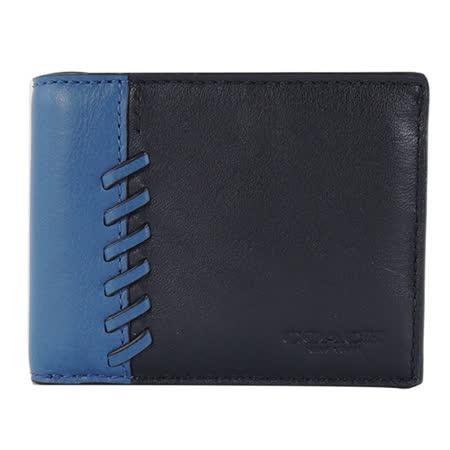 COACH 雙色棒球編織男用皮夾(藍)(附盒)
