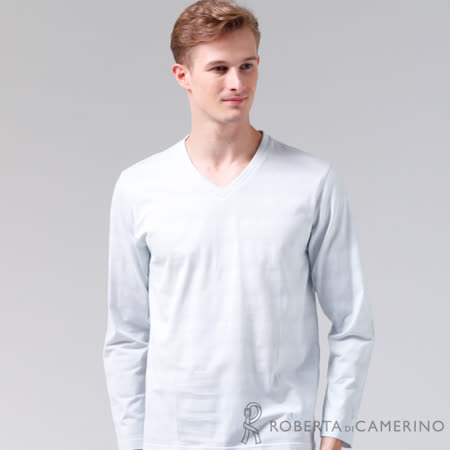ROBERTA諾貝達 台灣製 休閒百搭 純棉長袖POLO棉衫 淡藍