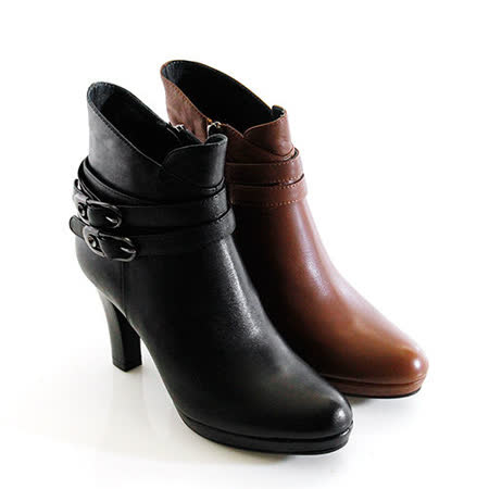【GREEN PHOENIX】全真皮街頭性感環繞造型皮扣不對稱剪裁高跟踝靴