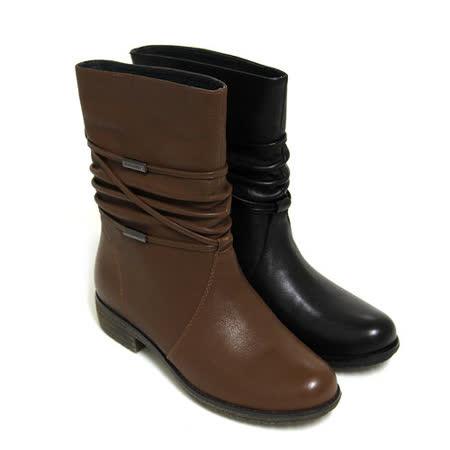 【GREEN PHOENIX】極致風采繞踝皮繩金屬片抓皺全真皮低跟中靴