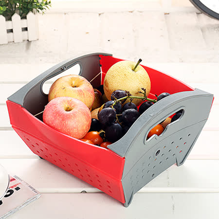 PUSH! 餐廚用品折疊式瀝水籃水果籃水果蔬菜麵條清洗籃D96-1紅色