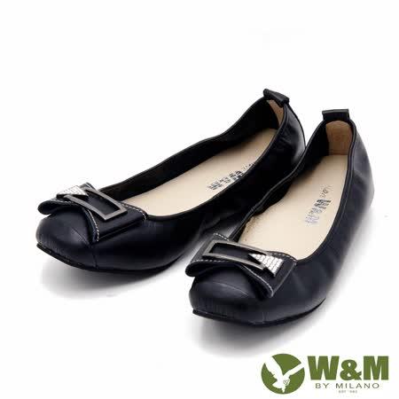 W&M 迷人金屬扣水鑽素色女鞋-黑(另有桃)