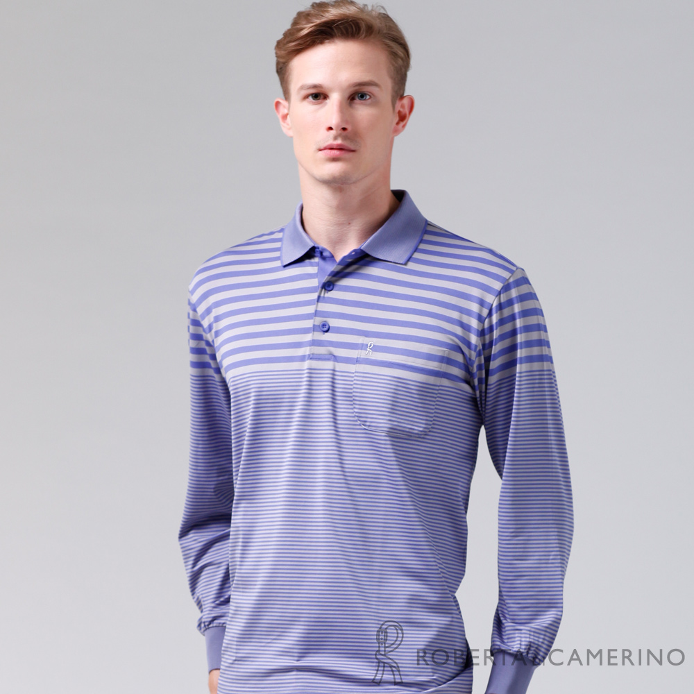 ROBERTA諾貝達 製 抗UV 吸溼速乾 條紋長袖POLO棉衫 紫色