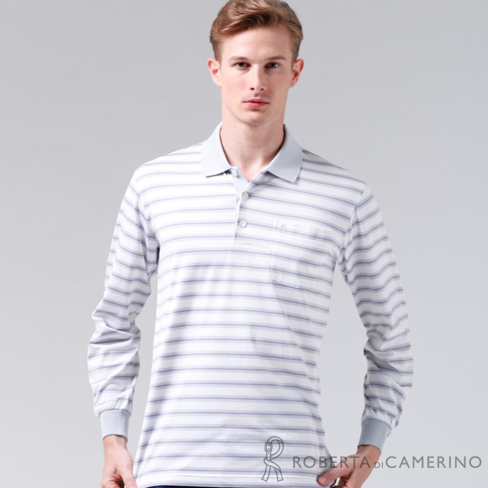 ROBERTA諾貝達 製 抗UV 透氣抗皺 條紋長袖POLO棉衫 白色