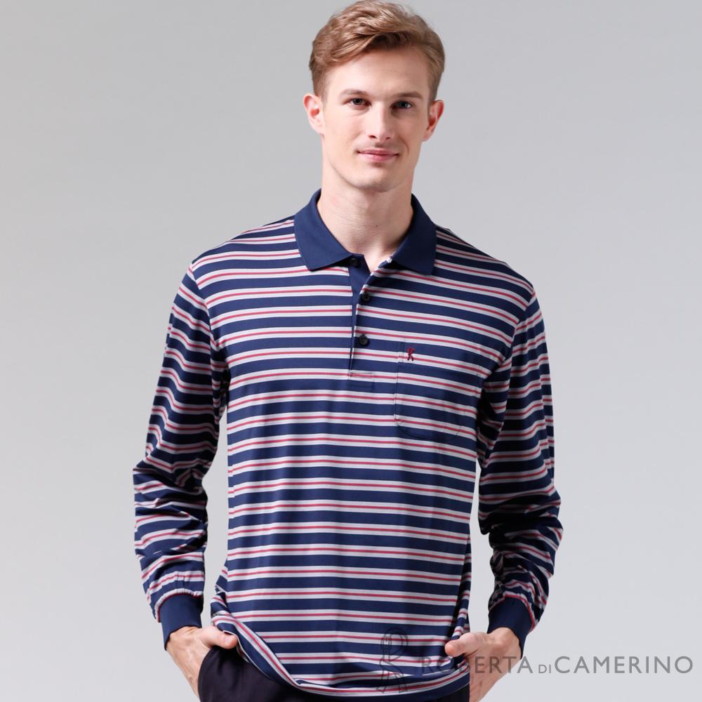 ROBERTA諾貝達 製 抗UV 透氣抗皺 條紋長袖POLO棉衫 灰藍