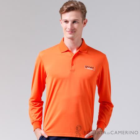 ROBERTA諾貝達 台灣製 吸汗速乾 時尚休閒長袖POLO棉衫 橘色