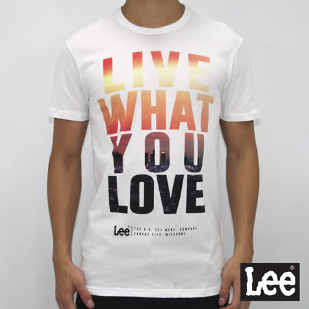 Lee 短袖T恤 螢光漸層文字印刷-男款-白