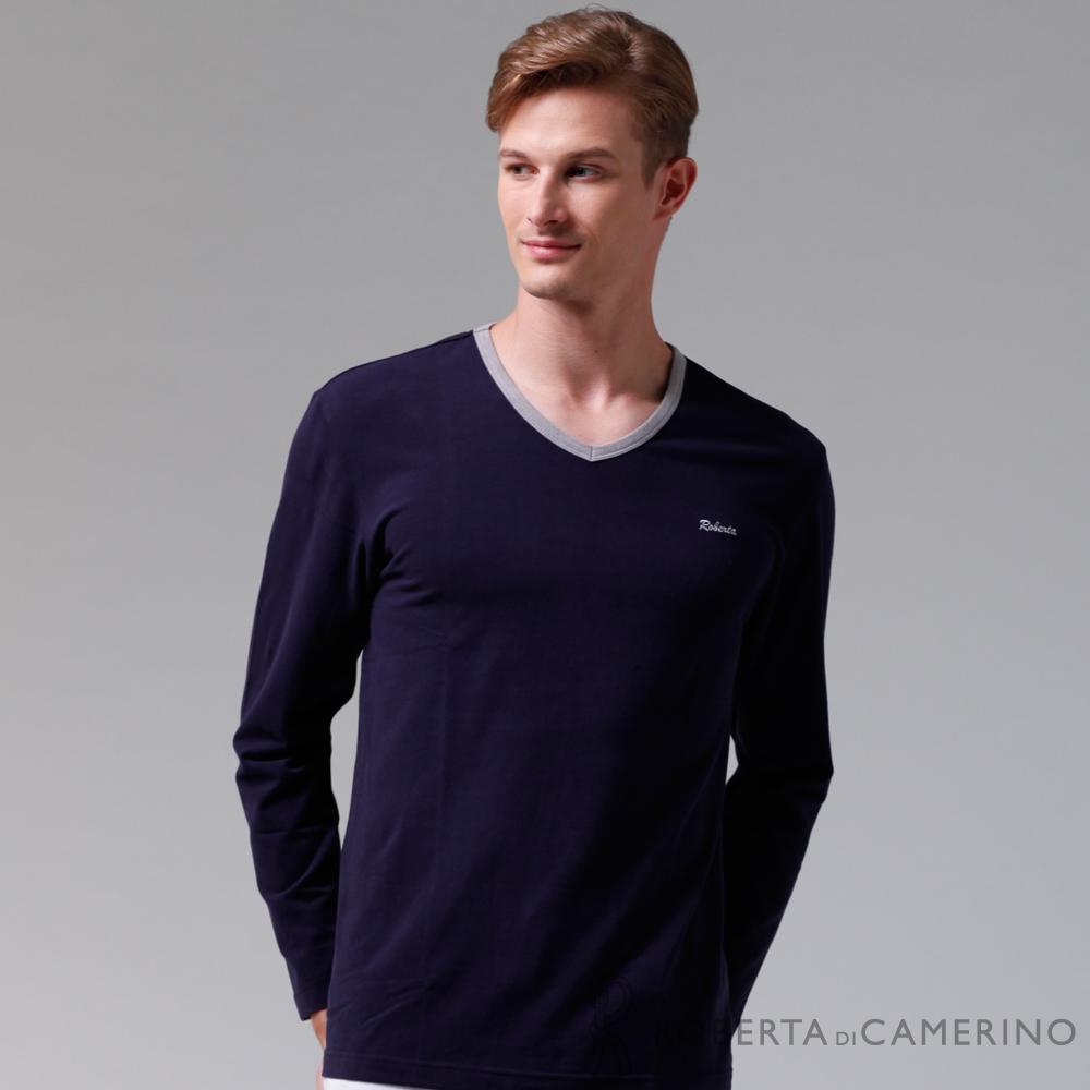 ROBERTA諾貝達 製 柔軟保暖 百搭長袖POLO棉衫 深藍