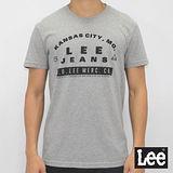 Lee 短袖T恤 前後圖案印刷-男款-麻花灰