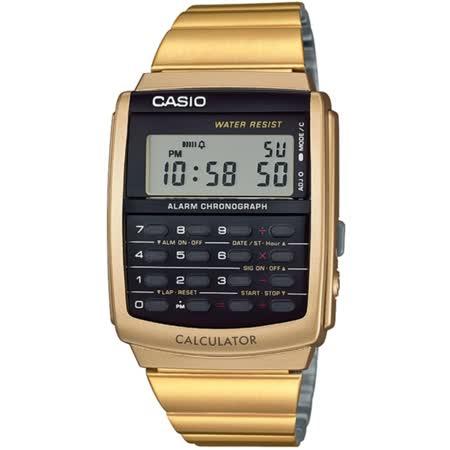 CASIO 潮流復古計算機個性電子錶(金)_CA-506G-9A