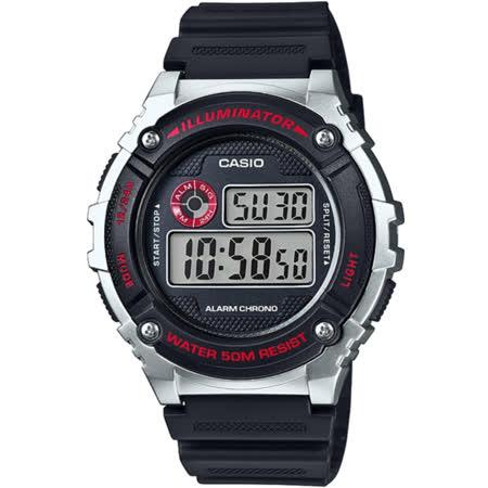 CASIO 競速電小子休閒數字錶(黑x銀)_W-216H-1C