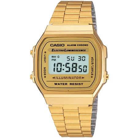 CASIO 金色經典復刻電子錶_A168WG-9W