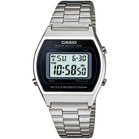 CASIO 簡單風鋼帶款電子數位錶(銀)_B640WD-1A