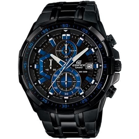 CASIO EDIFICE 疾黑耀星紀元碼表計時賽車錶(藍x黑)_EFR-539BK-1A2