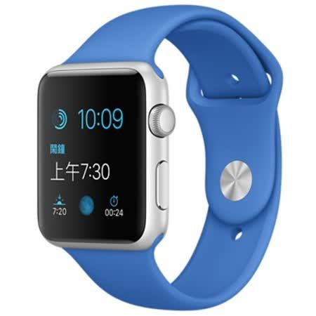 Apple WATCH SPORT 42mm/42公釐 A 銀色鋁金屬錶殼 寶藍色運動型錶帶【含螢幕保護貼+專用錶套】(MMFM2TA/A)