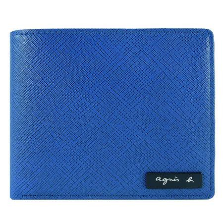 agnes b VOYAGE 鐵牌雙色防刮短夾(多卡夾/藍黃)